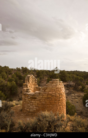 Cutthroat Castle Group stone tower at Hovenweep National Monument in southern Utah, USA. - Stock Photo