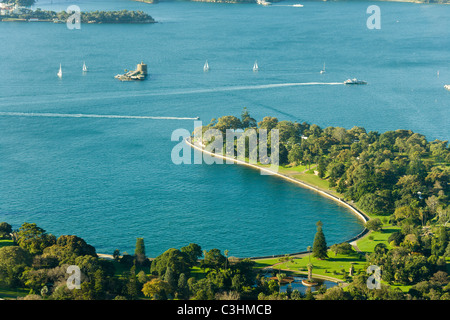 Sydney NSW Australia, aerial view of Farm Cove, Royal Botanic Gardens, Mrs Macquaries Chair and Fort Denison. - Stock Photo