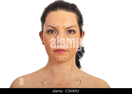 Portrait of mid adult woman face prepared for plastic surgery isolated on white background - Stock Photo