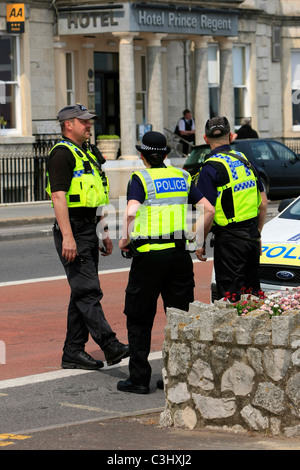 Specialist Police Officers on duty in Weymouth during an EDl Demonstration - Stock Photo
