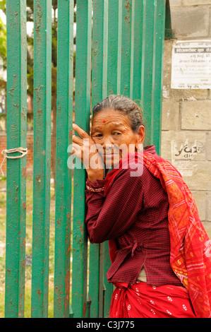 nepalese lady in traditional dress, peoples lives ( the nepalis ) ,life in kathmandu , kathmandu street life , Nepal - Stock Photo