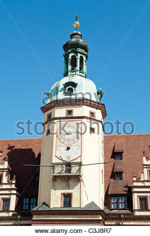 Altes Rathaus on the Markt (Market Square) in Leipzig, Saxony, Germany. - Stock Photo