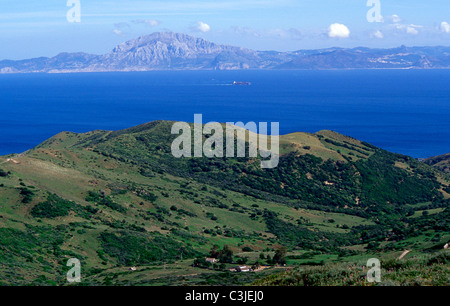 Strait of Gibraltar and Africa coast seen from El Mirador del Estrecho near Tarifa .Cadiz province . Andalusia.Spain. - Stock Photo