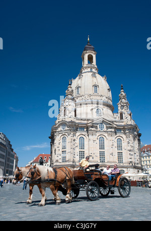 Exterior of famous Frauenkirche (Church Of Our Lady) church in Dresden Saxony Germany - Stock Photo