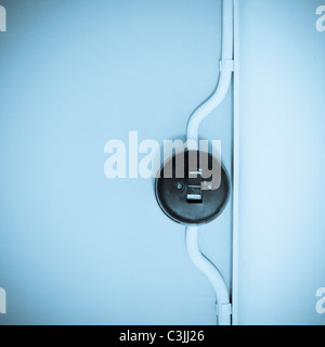 Old fashioned light switch - Stock Photo