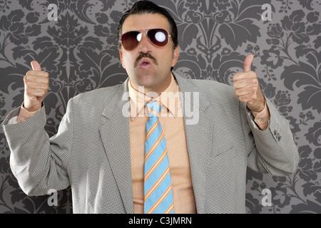 nerd retro man businessman ok positive hand gesture wallpaper background - Stock Photo