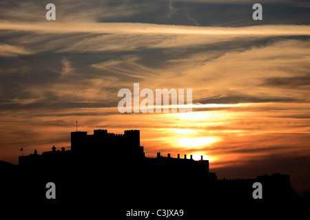 Sunset over Dover Castle, Dover town, Kent, England, UK - Stock Photo