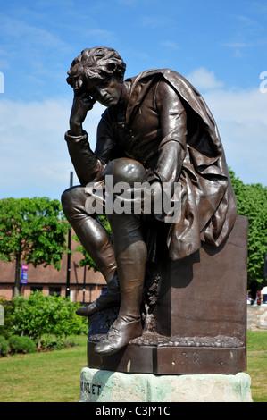 Hamlet Statue, Bancroft Gardens, Stratford upon Avon, Warwickshire - Stock Photo