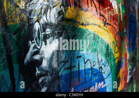 The John Lennon graffiti Wall in Prague, Czech Republic - Stock Photo