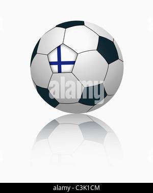 Finnish flag on football, close up - Stock Photo