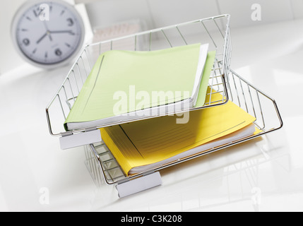 Desk organizers in office, close up - Stock Photo
