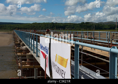 Network Rail structural improvements track renewals and structure enhancements to Arnside 150-year-old rail viaduct, - Stock Photo