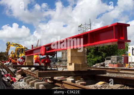Network Rail structural improvements, track renewal, bridge repairs & infrastructure enhancements to Arnside 150 - Stock Photo