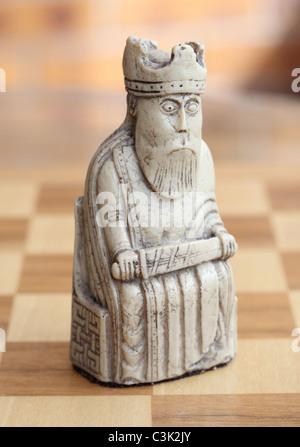 isle of lewis chess set white king piece - Stock Photo