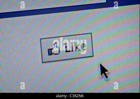 Close up of the Facebook 'like' button. (Editorial use only: print, TV, e-book and editorial website). - Stock Photo