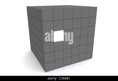 Massive Cube with one Glowing Piece - Stock Photo