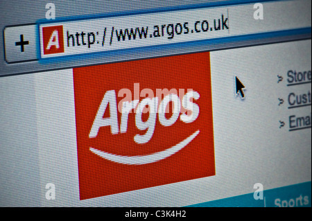 Close up of the Argos logo as seen on its website. (Editorial use only: ­print, TV, e-book and editorial website). - Stock Photo