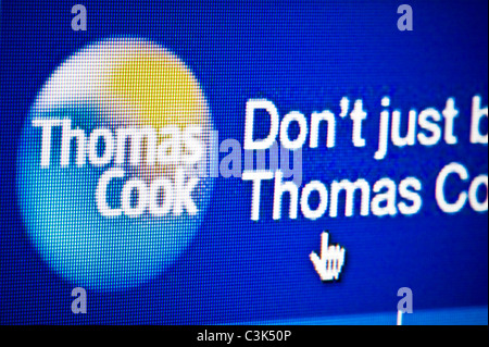 Close up of the Thomas Cook logo as seen on its website. (Editorial use only: print, TV, e-book and editorial website). - Stock Photo