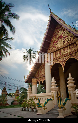 Wat Ong Teu, Buddhist Temple, Vientiane, Laos - Stock Photo