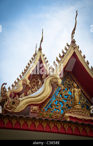 Rooftop of Wat Ong Teu, Buddhist Temple, Vientiane, Laos - Stock Photo