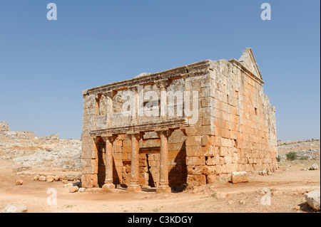 The Andron or mens meeting hall with its columned double portico at the Dead Byzantine city of Serjilla in north - Stock Photo