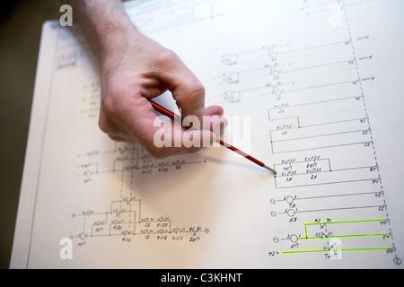 Hand holding pen doing plan - Stock Photo