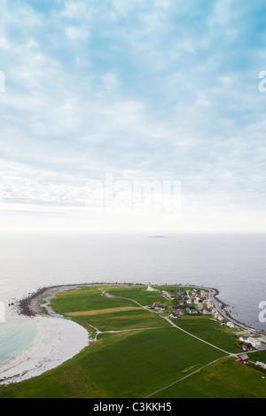 Small village on coastline - Stock Photo