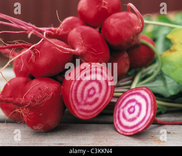 Close-up of beetroot on wooden surface - Stock Photo