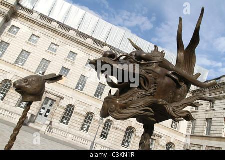 Exhibition of Chinese artist Ai Weiwei. Circle of Animals / Zodiac Heads at Somerset House, London. UK - Stock Photo