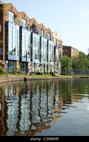 view looking from Hawley Lock towards Kentish Town Road Lock on the Regent's Canal, London - Stock Photo
