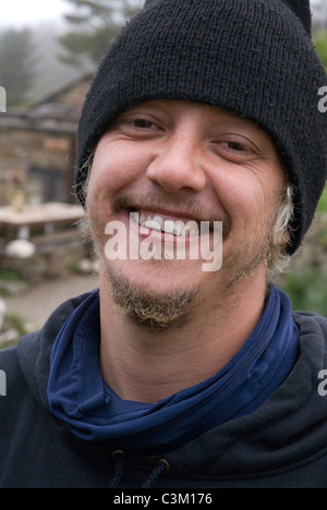 Portrait of a Pilgrim in the village of Manjarin, Camino de Santiago, Northern Spain - Stock Photo