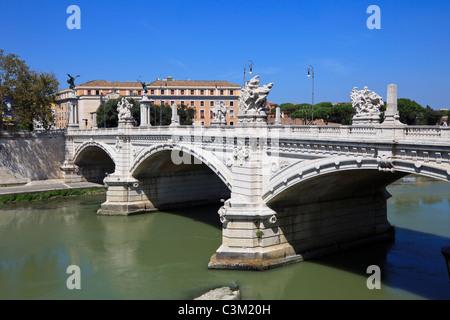 Famous Bridge Vittorio Emanuele II over river Tiber, Rome, Italy. (Ponte Vittorio Emanuele II) - Stock Photo