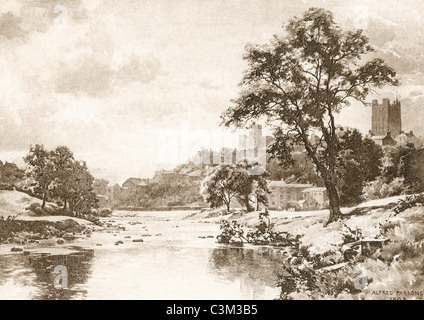 The River Swale, Richmond, North Yorkshire, England in the late 19th century. - Stock Photo