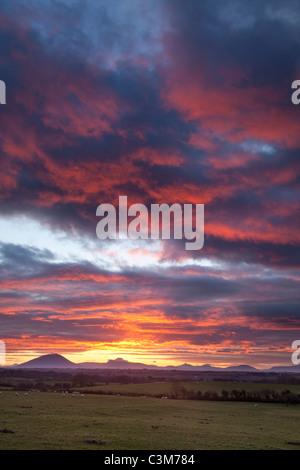 Sunset over the Nephin Beg Mountains, County Sligo, Ireland. - Stock Photo