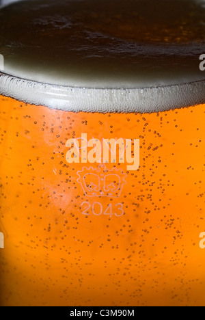 UK PINT BEER GLASS WITH CROWN STAMP - Stock Photo