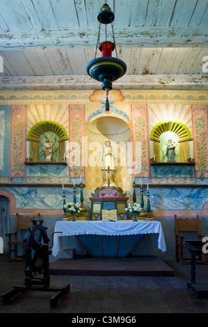 Altar detail in chapel at La Purisma Mission State Historical Park, near Lompoc, Santa Barbara County, California - Stock Photo