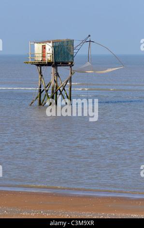 Fishing carrelet from Saint Brevin les Pins in Pays de la Loire region in western France - Stock Photo