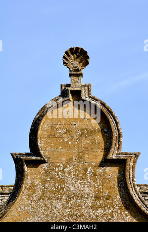 Detail of Stanway House gateway, Gloucestershire, England, UK - Stock Photo