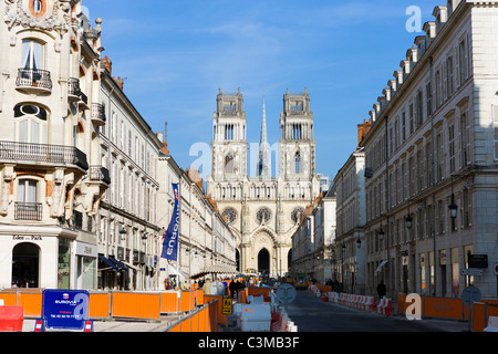 Orleans Cathedral at the end of Rue Jeanne d'Arc, closed for the construction of a nevv tram line, Orleans, France - Stock Photo