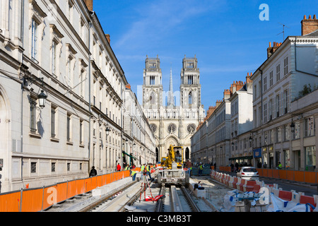 Orleans Cathedral at the end of Rue Jeanne d'Arc, closed for the construction of a new tram line, Orleans, France - Stock Photo