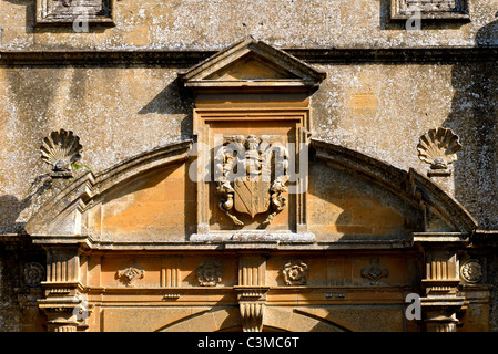 Detail of Stanway House gateway, Gloucestershire, England, UK - Stock Photo