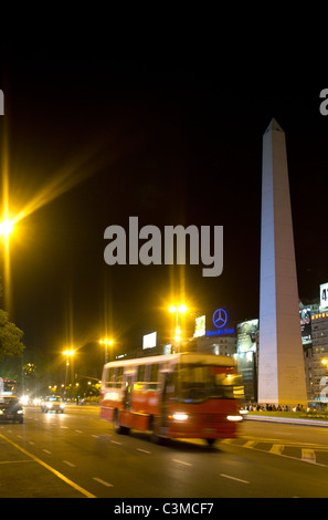 Obelisk of Buenos Aires and Avenida 9 de Julio, Argentina. - Stock Photo