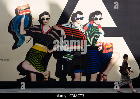 Prada advertisement outside their boutique at 6 Rue Fbg St Honoré, Paris - Stock Photo