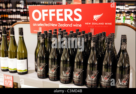 Wine offers UK; Bottles of New Zealand wine for sale at a discount, Waitrose supermarket, UK - Stock Photo