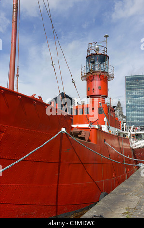 The red lightship Planet moored at Liverpool Albert Dock. - Stock Photo