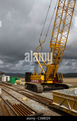 Network Rail structural improvements, rail engineer, track renewals and structure enhancements to Arnside 150-year - Stock Photo