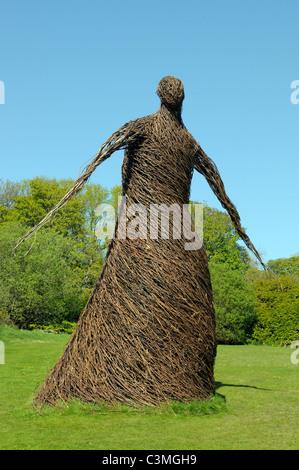 Wicker woman artwork at Lews Castle in Stornoway - Stock Photo