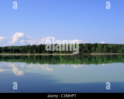 Germany, Bavaria, Upper Bavaria, Iffeldorf, View of lake ostersee - Stock Photo