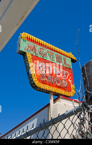 Old neon motel sign on route 66 in New Mexico - Stock Photo