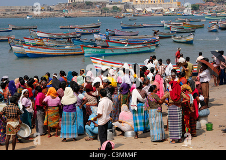 Indian women gather round the fishing boat bringing in its catch in Vizhinjam harbour near Kovalam, Kerala, India - Stock Photo